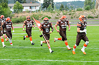 KELOWNA, BC - AUGUST 17:  Kian ISHANI #8 of Okanagan Sun runs onto the field with the home flag at the start of the game against the Westshore Rebels  at the Apple Bowl on August 17, 2019 in Kelowna, Canada. (Photo by Marissa Baecker/Shoot the Breeze)