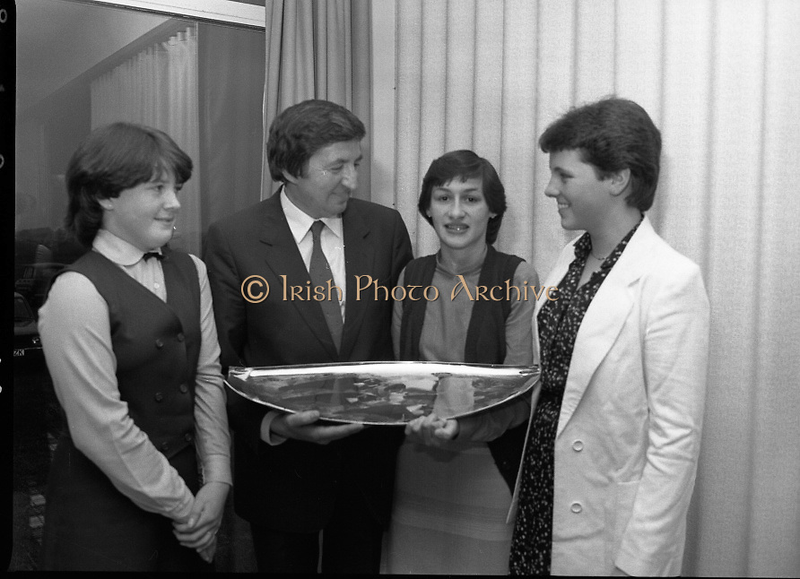 """""""The National Fish Cookery Award""""..29.04.1982..04.29.1982.29th April 1982.1982..This competition sponsored by Bord Iascaigh Mhara was held in The Clare Inn, Newmarket-on Fergus,Co Clare. the competition was open to schools across the country..(L-R)  Minister Daly congratulates (from left) Miriam Henshaw 2nd place,Catherine O'Sullivan,the winner and Martha Browne, 3rd place."""