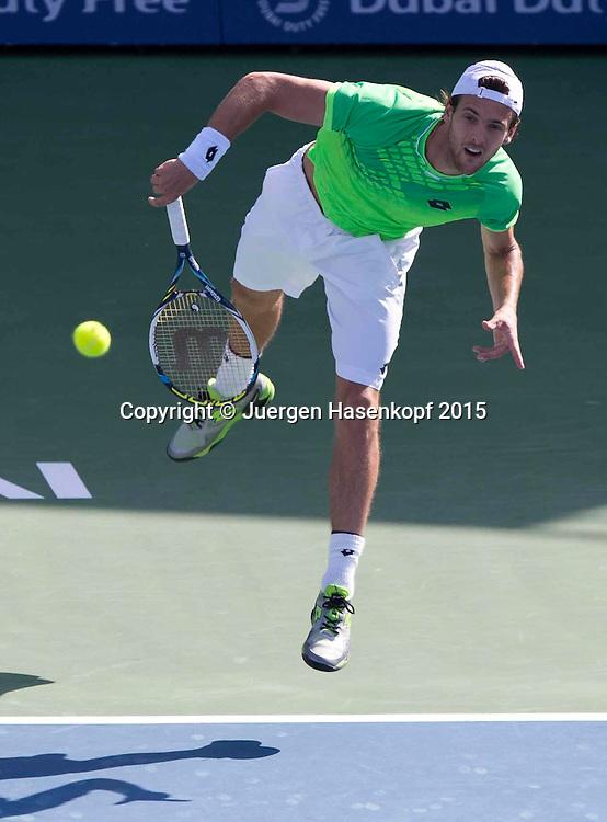 Joao Sousa (POR)<br /> <br /> Tennis - Dubai Duty Free Tennis Championships - ATP -   - Dubai -  - United Arab Emirates  - 25 February 2015. <br /> &copy; Juergen Hasenkopf