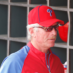March 1, 2011; Clearwater, FL, USA; Former Philadelphia Phillies player Mike Schmidt in the dugout before a spring training exhibition game against the Detroit Tigers at Bright House Networks Field  Mandatory Credit: Derick E. Hingle