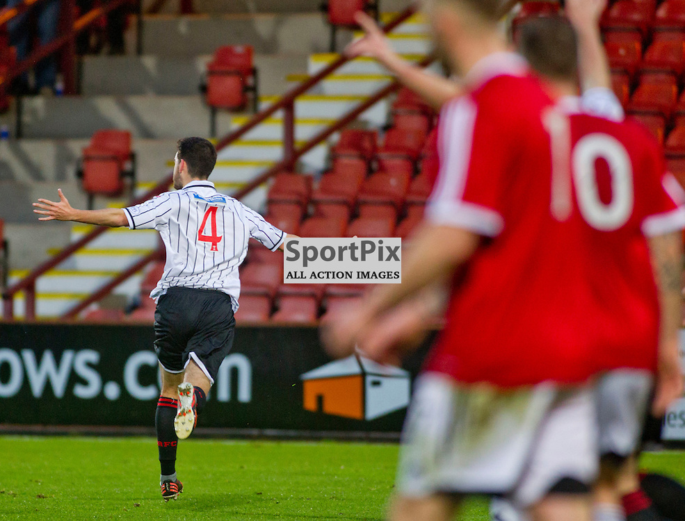 Dunfermline Athletic v Ayr United SPFL League One East End Park 06 December 2014<br /> Shaun Byrne celebrates his goal<br /> CRAIG BROWN | sportPix.org.uk