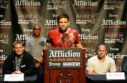 """June 3, 2009; New York, NY, USA; Fedor Emelianenko (r) and Josh Barnett (l) listen to Renato Sobral speak at the press conference announcing their fight at Affliction M-1 Global's """"Trilogy"""".  The two will meet on August 1, 2009 at the Honda Center in Anaheim, CA, Sobral will fight in the co-feature."""