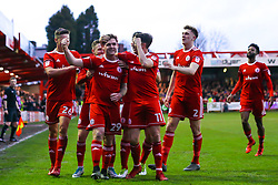Billy Kee of Accrington Stanley celebrates with teammates after scoring a goal to make it 1-0 - Mandatory by-line: Robbie Stephenson/JMP - 17/04/2018 - FOOTBALL - Wham Stadium - Accrington, England - Accrington Stanley v Yeovil Town - Sky Bet League Two