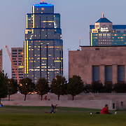 Kansas City highrise buildings of downtown with public spaces of Liberty Memorial in foreground.