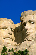 Morning light on Lincoln and Roosevelt detail, Mount Rushmore National Memorial, South Dakota USA