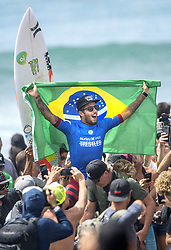 September 15, 2017 - San Onofre, California, USA - Filipe Toledo of Brazil celebrates with surfing fans after he defeated Jordy Smith of South Africa in the final of the Hurley Pro at Trestles held at San Onofre State Beach on Friday, August 15, 2017. (Credit Image: © Mark Rightmire/The Orange County Register via ZUMA Wire)
