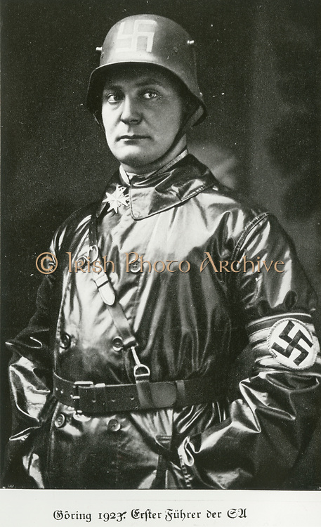 'Hermann Wilhelm Goering (1893-1946) German Nazi politician in 1923 at the time of the Beer Hall Putsch. Founded the Gestapo in 1933, Commander-in-Chief of Luftwaffe from 1935. After Nuremberg Trials committed suicide'