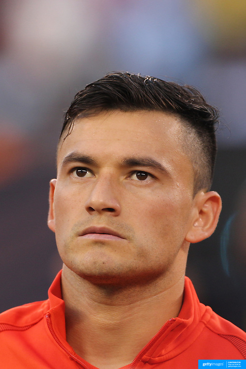 EAST RUTHERFORD, NEW JERSEY - JUNE 26:   Charles Aranguiz #20 of Chile during team presentations before the Argentina Vs Chile Final match of the Copa America Centenario USA 2016 Tournament at MetLife Stadium on June 26, 2016 in East Rutherford, New Jersey. (Photo by Tim Clayton/Corbis via Getty Images)