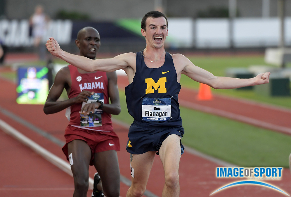 Jun 6, 2018; Eugene, OR, USA; Ben Flanagan of Michigan celebrates after defeating Vincent Kiprop of Alabama to win the 10,000m, 28:34.54 to 28:34.93, during the NCAA Track and Field championships at Hayward Field.