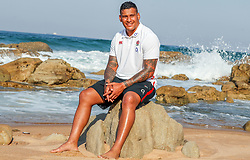 Nathan Hughes (Wasps) during the England Press Conference at the Kashmir restaurant, and at the Beach in front of the team Hotel Umhlanga, Durban,South Africa.13,06,2018 Photo by (Steve Haag JMP)
