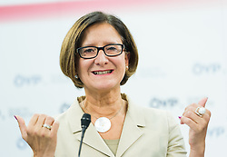 21.09.2015, Bundesparteizentrale, Wien, AUT, ÖVP, Pressekonferenz zum Aktionsplan Asyl. im Bild Bundesministerin für Inneres Johanna Mikl-Leitner (ÖVP) // Minister of the Interior Johanna Mikl-Leitner (OeVP) during press conferenc of the austrian people's party according to Refugee crisis in Europe at federal party centre in Vienna, Austria on 2015/09/21. EXPA Pictures © 2015, PhotoCredit: EXPA/ Michael Gruber