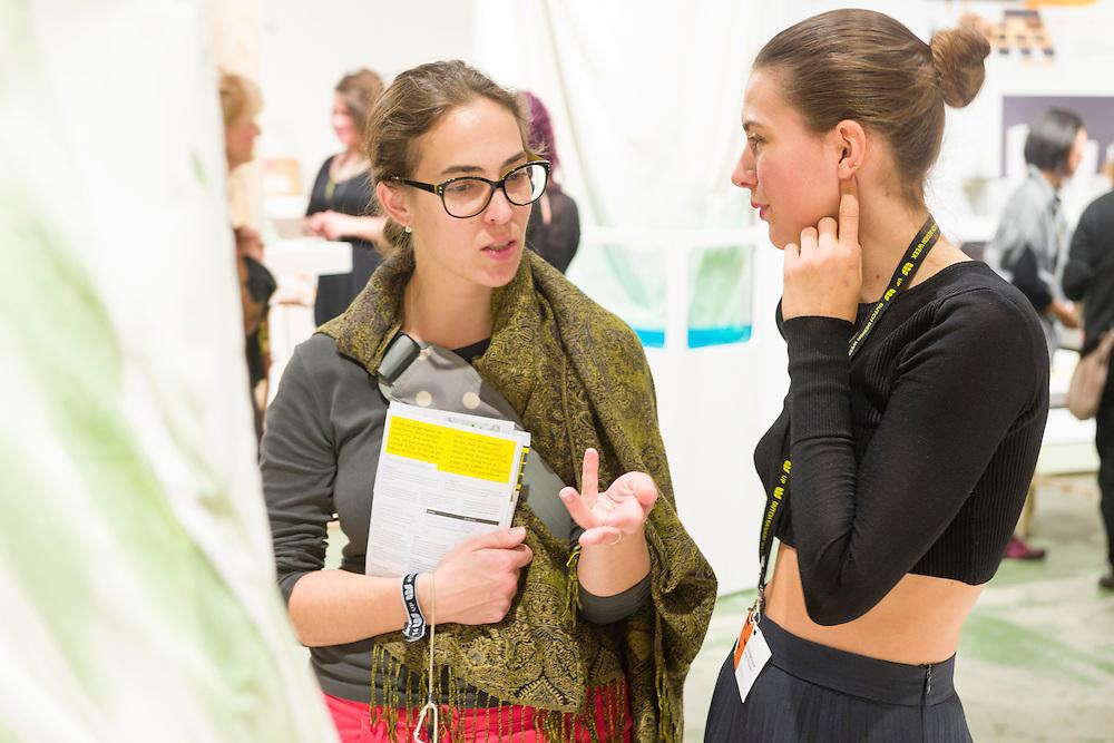 Nederland, Eindhoven, 20141018.<br /> Dutch Design Week in Eindhoven op Strijp<br /> Algaemy onderzoekt de potentie van microalgen als pigment in textieldruk. De ontwerpers Essi Johanna Glomb (textiel design) en Rasa Weber (product design) onthullen de esthetische mogelijkheden van een bron die meestal wordt beschouwd als onkruid binnen Europa.<br /> <br /> Netherlands, Eindhoven, 20141018.<br /> Dutch Design Week in Eindhoven op Strijp<br /> Algaemy investigates the potential of microalgae as pigment in textile printing. The designers Essi Johanna Glomb (textile design) and Rasa Weber (product design) reveal the aesthetic potential of a resource which is mostly regarded as weeds within Europe.