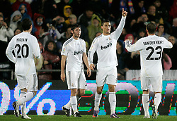 25.03.2010, Coliseum Alfonso Perez, Madrid, ESP, Primera Divison, FC Getafe vs Real Madrid, im Bild Real Madrid's Cristiano Ronaldo und Esteban Granero jubeln, EXPA Pictures © 2010, PhotoCredit: EXPA/ Alterphotos/ Alvaro Hernandez / SPORTIDA PHOTO AGENCY