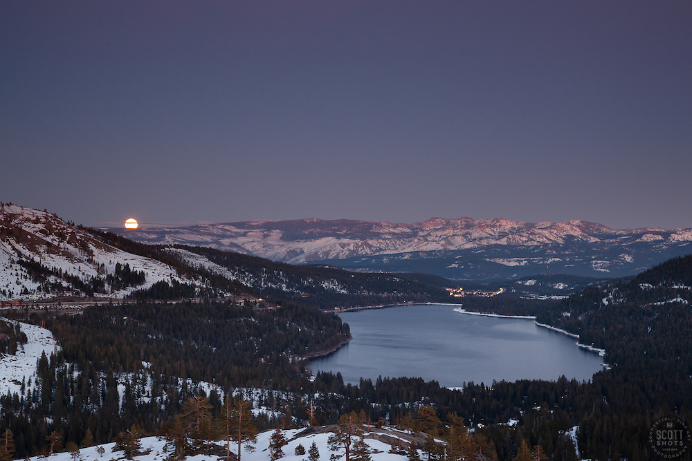 """Full Moon above Donner Lake 1"" - This rising full moon was photographed just after sunset above Donner Lake in Truckee, CA."