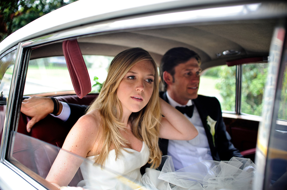 photo by Matt Roth.Saturday, April 14, 2012.Assignment ID: 30124225A..Molly Spencer Palmer and Lee Cowan married each other at St. Albans Parish in Washington D.C. Saturday, April 14, 2012. The couple sit in their wedding car, a classic 1960's Bentley, before being carted off to their reception at the Chevy Chase Club...Molly Palmer, 29, and Lee Cowan, 46, were colleagues at NBC News, but it wasn't until The Balloon Boy story coverage in 2009 that their romance sparked.