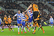 Hull City defender Harry Maguire tries desprately to reach the ball in the goal area  during the Sky Bet Championship match between Hull City and Reading at the KC Stadium, Kingston upon Hull, England on 16 December 2015. Photo by Ian Lyall.