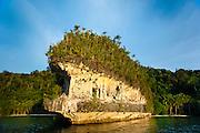 Distinctive wave cut ledges that host prehistoric rock art near Mai Mai Village, Namatota Strait, near Kaimana, Papua.