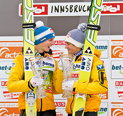 04.01.2012, Bergisel-Stadion, Innsbruck, AUT, 60. Vierschanzentournee, FIS Ski Sprung Weltcup, Podium, im Bild Gregor Schlierenzauer (AUT) // Gregor Schlierenzauer of Austria und Andreas Kofler (AUT) // Andreas Kofler of Austria on Podium of 60th Four-Hills-Tournament FIS World Cup Ski Jumping at Bergisel-Stadion, Innsbruck, Austria on 2012/01/04. EXPA Pictures © 2012, PhotoCredit: EXPA/ Peter Rinderer
