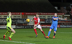 Jack Marriott of Peterborough United scores his sides second goal of the game past Alex Cairns of Fleetwood Town to make the score 2-2 - Mandatory by-line: Joe Dent/JMP - 17/12/2017 - FOOTBALL - Highbury Stadium - Fleetwood, England - Fleetwood Town v Peterborough United - Sky Bet League One