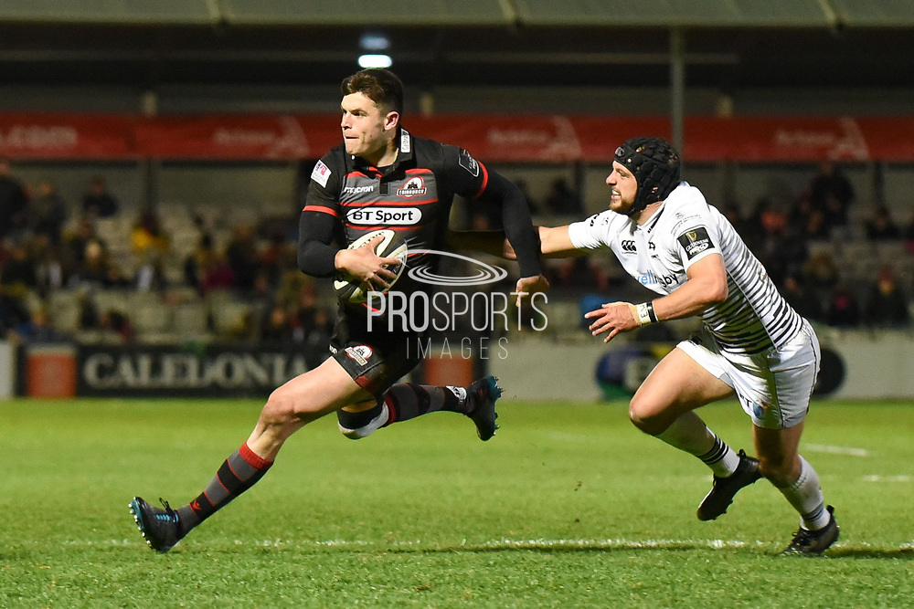 Try scorer Blair Kinghorn during the Guinness Pro 14 2017_18 match between Edinburgh Rugby and Ospreys at Myreside Stadium, Edinburgh, Scotland on 4 November 2017. Photo by Kevin Murray.