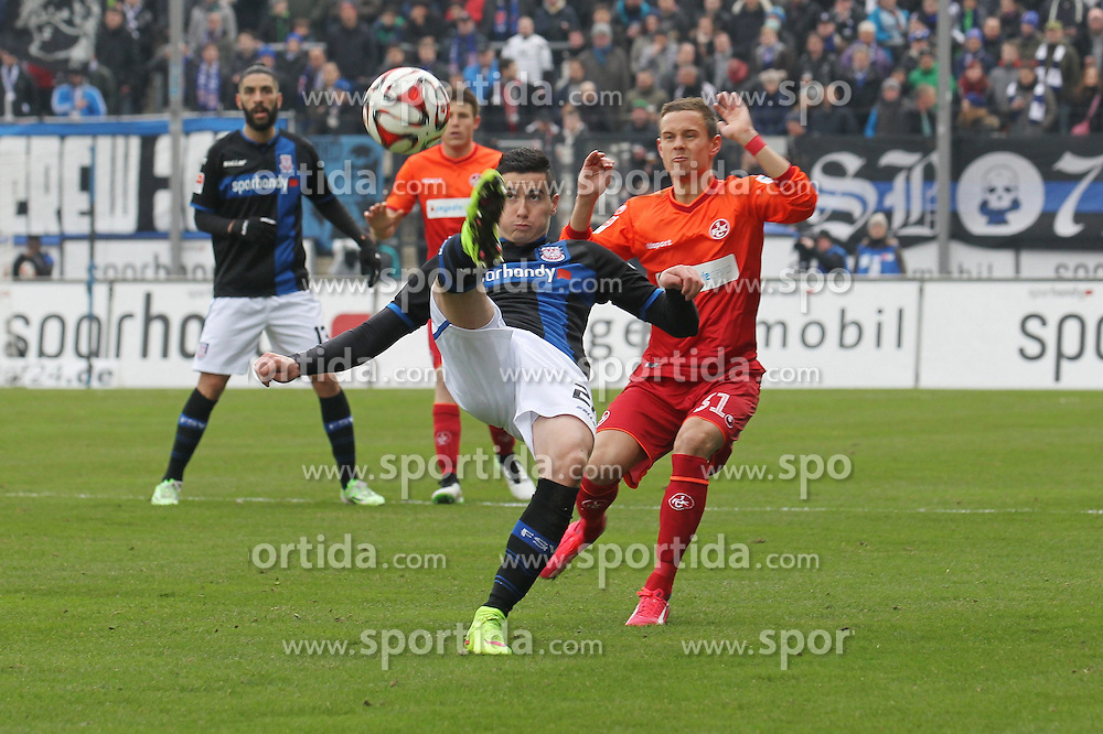 22.02.2015, Frankfurter Volksbank Stadion, Frankfurt, GER, 2. FBL, FSV Frankfurt vs 1. FC Kaiserslautern, 22. Runde, im Bild Fallrueckzieher Odise Roshi (FSV Frankfurt) hinten: Chris L&ouml;we, Loewe (Kaiserslautern) // during the 2nd German Bundesliga 22nd round match betweenFSV Frankfurt and 1. FC Kaiserslautern at the Frankfurter Volksbank Stadion in Frankfurt, Germany on 2015/02/22. EXPA Pictures &copy; 2015, PhotoCredit: EXPA/ Eibner-Pressefoto/ Roskaritz<br /> <br /> *****ATTENTION - OUT of GER*****