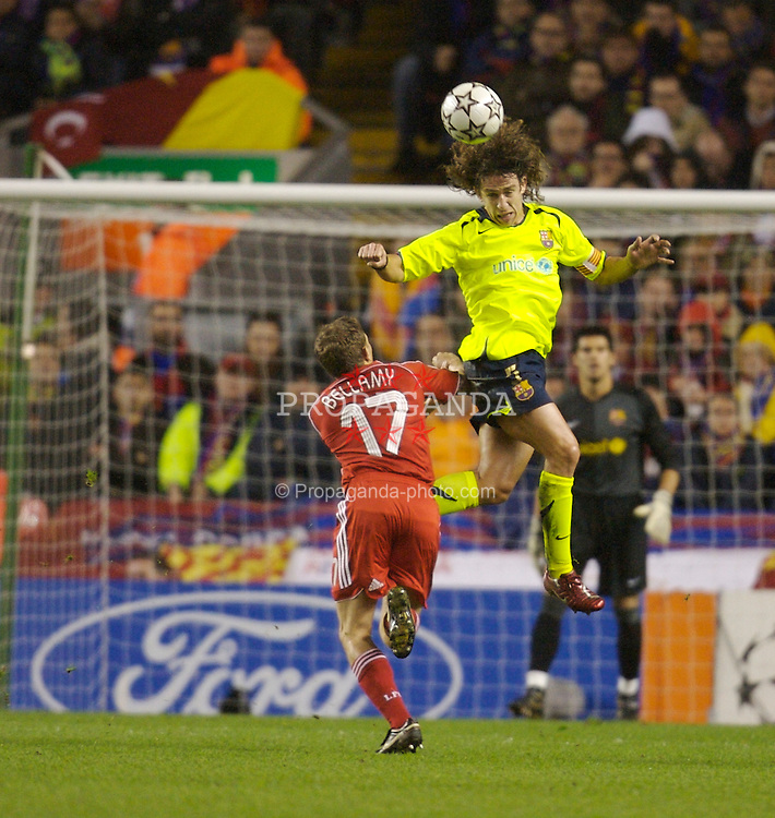 Liverpool, England - Tuesday, March 6, 2007: Liverpool's Craig Bellamy and FC Barcelona's Carles Puyol during the UEFA Champions League First Knockout Round 2nd Leg at Anfield. (Pic by David Rawcliffe/Propaganda)