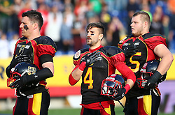 03.06.2014, NV Arena, St. Poelten, AUT, American Football Europameisterschaft 2014, Gruppe A, Schweden (SWE) vs Deutschland (GER), im Bild Deutsche Spieler waehrend der Nationalhymne // during the American Football European Championship 2014 group A game between Sweden vs Germany at the NV Arena, St. Poelten, Austria on 2014/06/03. EXPA Pictures © 2014, PhotoCredit: EXPA/ Thomas Haumer
