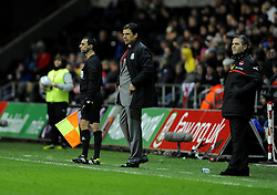 Wales Manger, Chris Coleman (left) and Austria Manger, Marcel Koller (right) - Photo mandatory by-line: Joe Meredith/JMP - Tel: Mobile: 07966 386802 06/02/2013 - SPORT - FOOTBALL - Liberty Stadium - Swansea  -  Wales V Austria - International Friendly