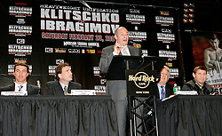 December 4, 2007; New York, NY, USA;  Boris Gringov, speaks at the press conference announcing the February 23, 2008 unification fight between IBF/IBO Heavyweight Champion Wladimir Klitschko (l) and WBO Heavyweight Champion Sultan Ibragimov (r).  The two fighters will meet at Madison Square Garden.