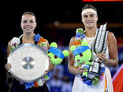 WUHAN, Sept. 29, 2018  Aryna Sabalenka (R) of Belarus and Anett Kontaveit of Estonia pose during the trophy ceremony after the singles final match at the 2018 WTA Wuhan Open tennis tournament in Wuhan, central China's Hubei Province, on Sept. 29, 2018. Aryna Sabalenka won 2-0 and claimed the title. (Credit Image: © Xiao Yijiu/Xinhua via ZUMA Wire)