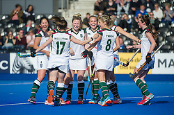 Surbiton celebrate their second goal. Holcombe v Surbiton - Investec Women's Hockey League Final, Lee Valley Hockey & Tennis Centre, London, UK on 23 April 2017. Photo: Simon Parker