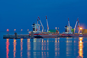 Reflections  of ship at dock in the North Shore of the Gulf of St. Lawrence<br />Baie Comeau<br />Quebec<br />Canada