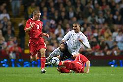 BIRMINGHAM, ENGLAND - Monday, October 13, 2008: Wales' Darcy Blake and England's Frazier Campbell during the UEFA European Under-21 Championship Play-Off 2nd Leg match at Villa Park. (Photo by Gareth Davies/Propaganda)