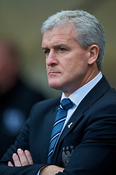 MANCHESTER, ENGLAND - Saturday, November 28, 2009: Manchester City's manager Mark Hughes before the Premiership match against Hull City at the City of Manchester Stadium. (Photo by David Rawcliffe/Propaganda)