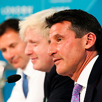 London, UK - 13 August 2012: Jeremy Hunt (L), Boris Johnson (C) and Sebastian Coe (R) during the final press conference of the Olympic Games to discuss the success of London 2012.