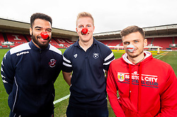 Lewis Champion of Bristol Flyers, James Dun of Bristol Bears, Jamie Paterson of Bristol City during a photo call at Ashton Gate for Red Nose Day - Ryan Hiscott/JMP - 06/03/2019 - SPORT - Ashton Gate Stadium - Bristol, England - Bristol Sport Red Nose Day