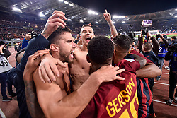 November 18, 2017 - Rome, Italy - Edin Dzeko of Roma, Gerson of Roma and Kevin Strootman of Roma celebrate the victory at the end of the Serie A match between Roma and Lazio at Olympic Stadium, Roma, Italy on 18 November 2017. (Credit Image: © Giuseppe Maffia/NurPhoto via ZUMA Press)