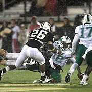 Marshall quarterback Rakeem Cato (12) fumbles the football during an NCAA football game between the Marshall Thundering Herd and the Central Florida Knights at Bright House Networks Stadium on Saturday, October 8, 2011 in Orlando, Florida. (Photo/Alex Menendez)