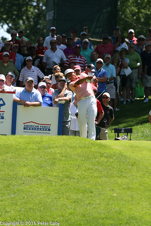 Esteban Toledo teeing off on the 10th hole at the 2016 American Family Championship held at University Ridge Golf Course, Madison,  WI. on June 24, 2016.<br /> <br /> <br /> <br /> <br /> <br />  2016 American Family Championship held at University Ridge Golf Course, Madison,  WI. on June 23, 2016.