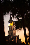 Twilight over broad street and St Michael's Church in Charleston, SC.