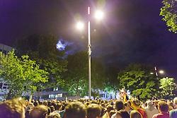 13.07.2014, Stuttgart, GER, FIFA WM, Weltmeisterfeier in Deutschland, Finale, im Bild Deutsche Fans feiern den Gewinn der Fussball Weltmeisterschaft auf der Theodor Heuss Strasse // Celebrations of Germany after the Final match between Germany and Argentina of the FIFA Worldcup Brazil 2014 at the Stuttgart, Germany on 2014/07/13. EXPA Pictures © 2014, PhotoCredit: EXPA/ Eibner-Pressefoto/ Maurer<br /> <br /> *****ATTENTION - OUT of GER*****