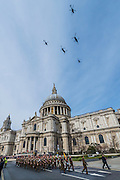 The fly past. A memorial service, fly and march past for all the forces who fought in Afghanistan is attended by the Royal Family. St Paul's Cathedral, London, UK 13 Mar 2015