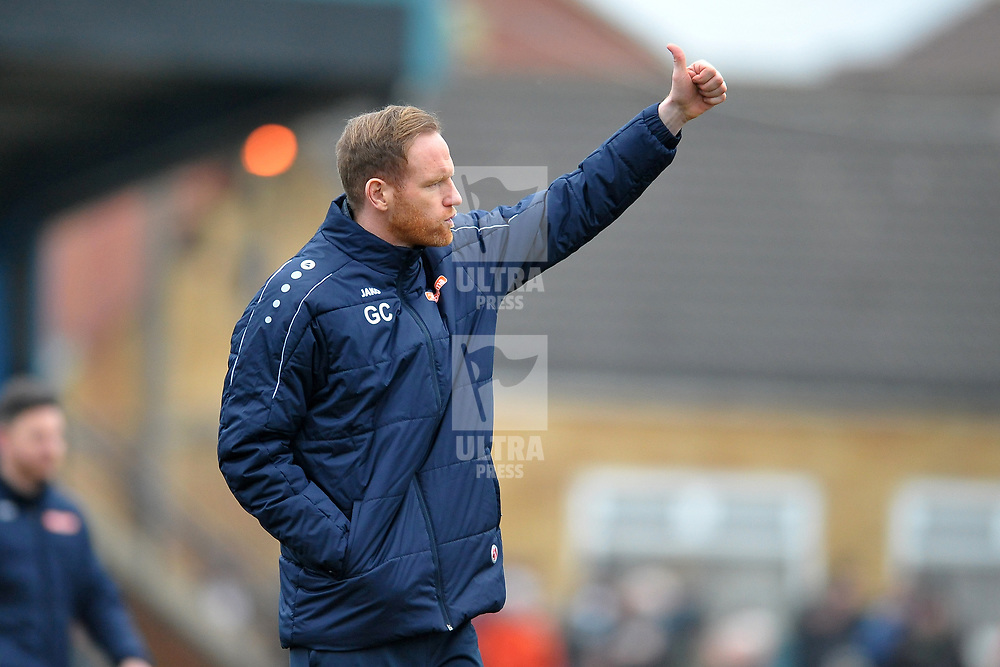 TELFORD COPYRIGHT MIKE SHERIDAN Gavin Cowan gives Telford fans the thumbs up during the Vanarama Conference North fixture between AFC Telford United and Farsley Celtic at The Citadel on Saturday, January 25, 2020.<br /> <br /> Picture credit: Mike Sheridan/Ultrapress<br /> <br /> MS201920-042