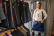 Howie Nicholby, owner of 21st Century Kilts, offer a unique take, and are a fitting homage, to a traditional Scottish style. The use of original textiles, ranging from leather, gold and purple denim, camouflage, to pinstripe offer something different to those fond of this age old item.