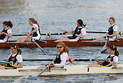 Hammersmith, GREAT BRITAIN,   JW15  8+, Surbiton High School Molesey Schools Rowing Association, [foreground] move past, Oundle school,  after the crews passed Hammersmith Bridge, during the 2008 School Head of the River Race,  04/03/2008  2008 [Mandatory Credit, Peter Spurrier/Intersport-images] Rowing Course: River Thames, Championship course, Putney to Mortlake 4.25 Miles, Hammersmith Bridge