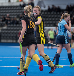 Beeston's Mimi Tarrant celebrates with /b186/ after scoring. Surbiton v Beeston - Boys U18 Cup Final, Lee Valley Hockey & Tennis Centre, London, UK on 01 May 2017. Photo: Simon Parker