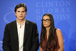 Sept. 23, 2010 - New York, New York, USA -   . . . . . .September 23, 2010...New York City... Ashton Kutcher and Demi Moore speak at the Clinton Global Initiative annual meeting in New York  on September 23, 2010 in New York City  (Credit Image: © Sharkpixs/ZUMApress.com)