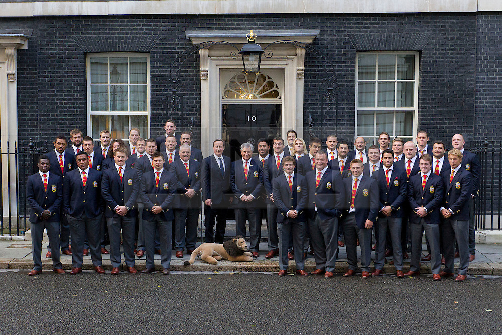 © Licensed to London News Pictures. 16/09/2013. London, UK. Members of the British Lions Rugby Team are seen with the British Prime Minister David Cameron on Downing Street in London today (16/09/2013) as they attend a reception celebrating their victory in Australia this summer. Photo credit: Matt Cetti-Roberts/LNP