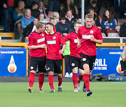 Brechin City's James Dale (6) cele scoring their goal. half time : Alloa Athletic 2 v 1 Brechin City, Ladbrokes Championship Play-Off 2nd Leg at Alloa Athletic's home ground, Recreation Park, Alloa.