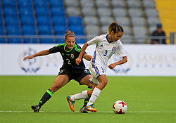 ASTANA, KAZAKHSTAN - Sunday, September 17, 2017: Wales' Loren Dykes and Kazakhstan's Aida Gaistenova during the FIFA Women's World Cup 2019 Qualifying Round Group 1 match between Kazakhstan and Wales at the Astana Arena. (Pic by David Rawcliffe/Propaganda)